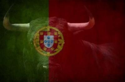 bandeira portuguesa com um touro