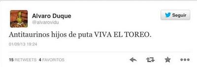 insulto de Alvaro Duque twitter