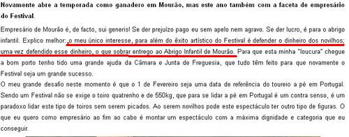 O Festival de Mourao segundo Joaquim Grave 28.1.2014