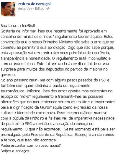 pedrito de portugal mensagem facebook