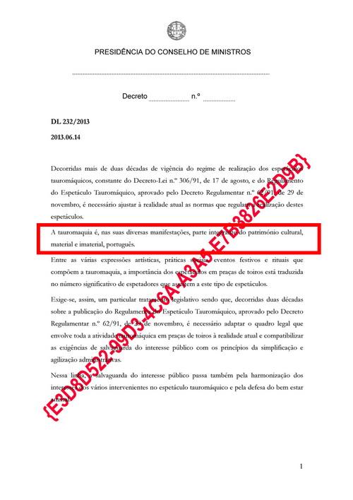 proposta decreto lei regulamento tauromaquico