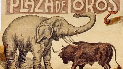 tourada com elefante e touro
