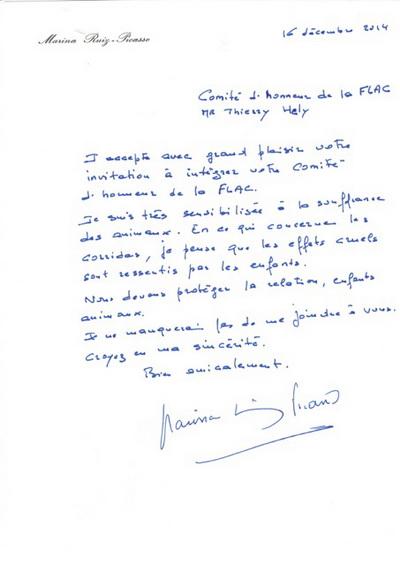carta de Marina Picasso