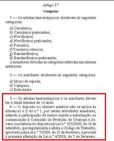 Lei de acesso a actividade tauromaquica