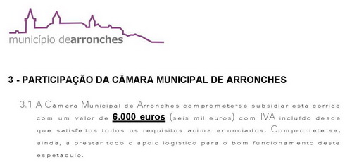 camara arronches subsidio tourada