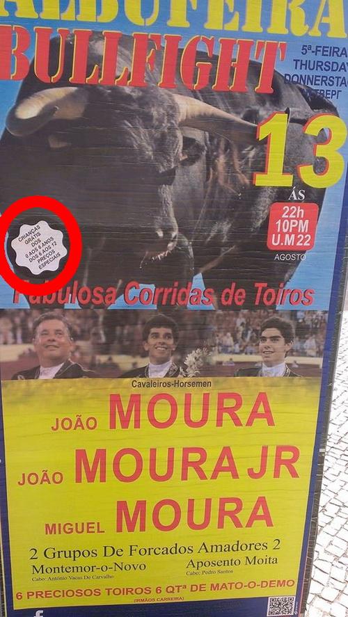 cartaz tourada albufeira
