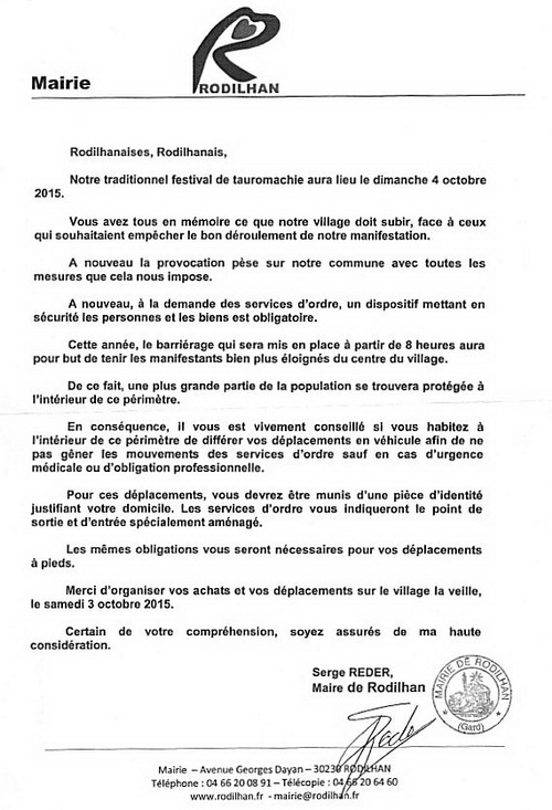 carta do autarca de rodilhan