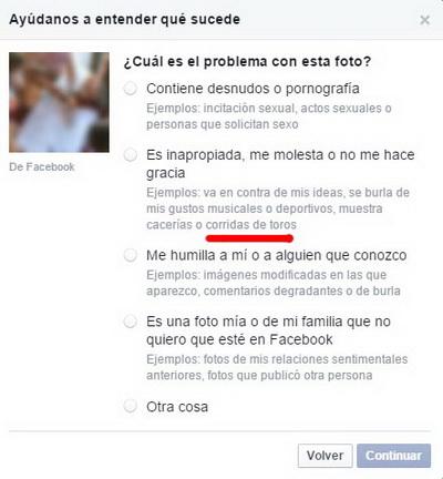 denuncia touradas facebook