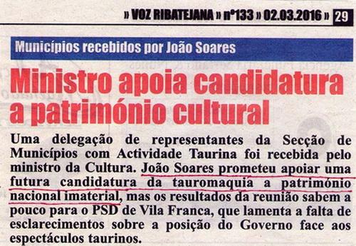 Voz Ribatejana 2.3.2016 tauromaquia patrimonio imaterial