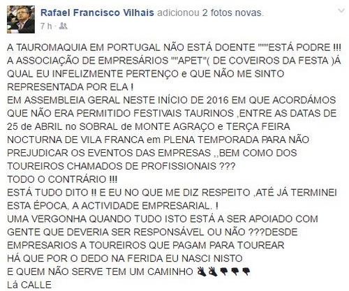 rafael vilhais post facebook