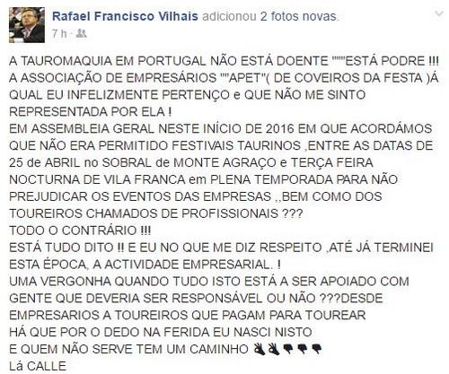 rafael vilhais post facebook